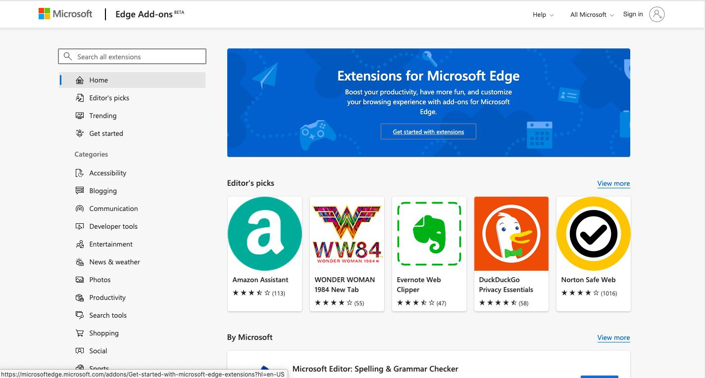 To add a new Edge extension, select Get Extensions for Microsoft Edge.