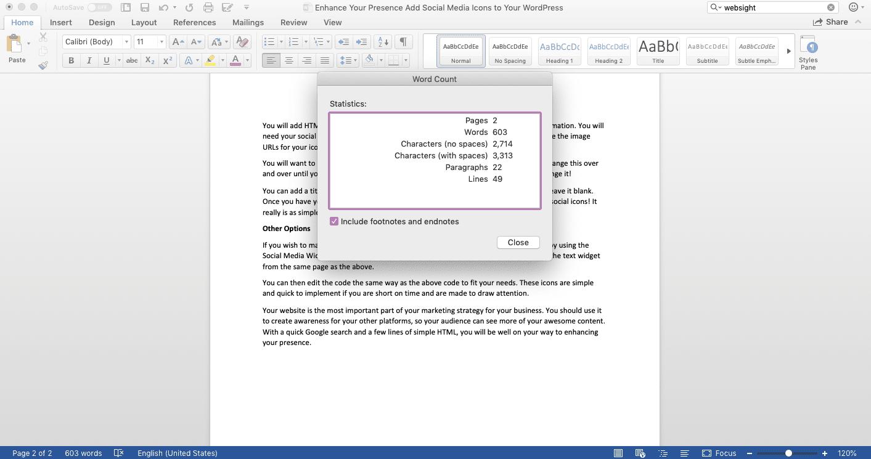 Screenshot of Word Count window on Microsoft Word