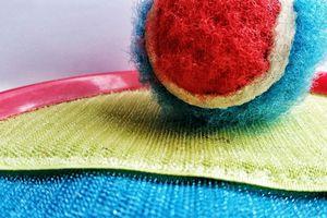A velcro ball on a racket.