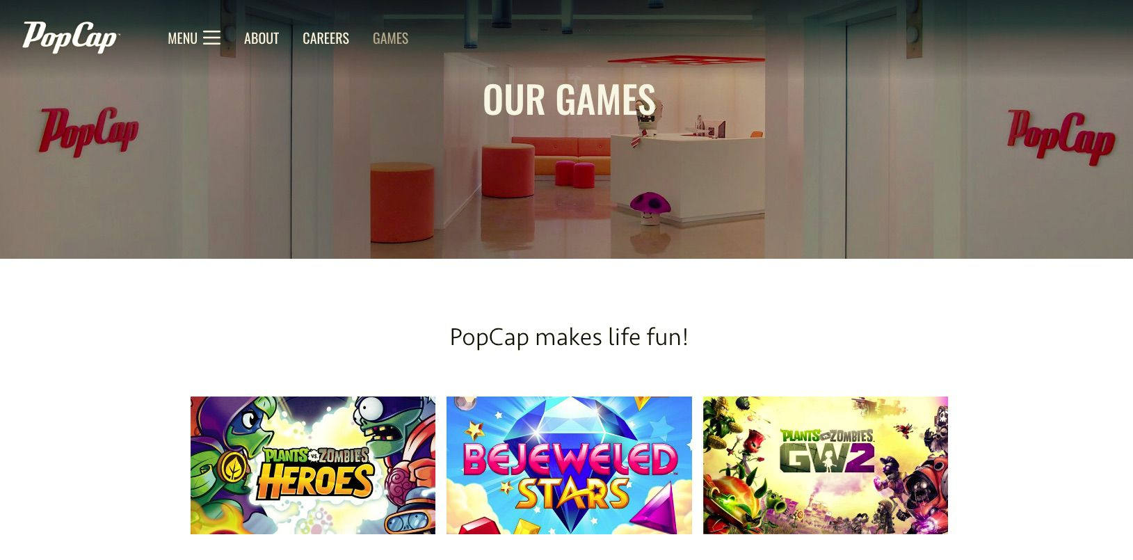 PopCap Games Home Page