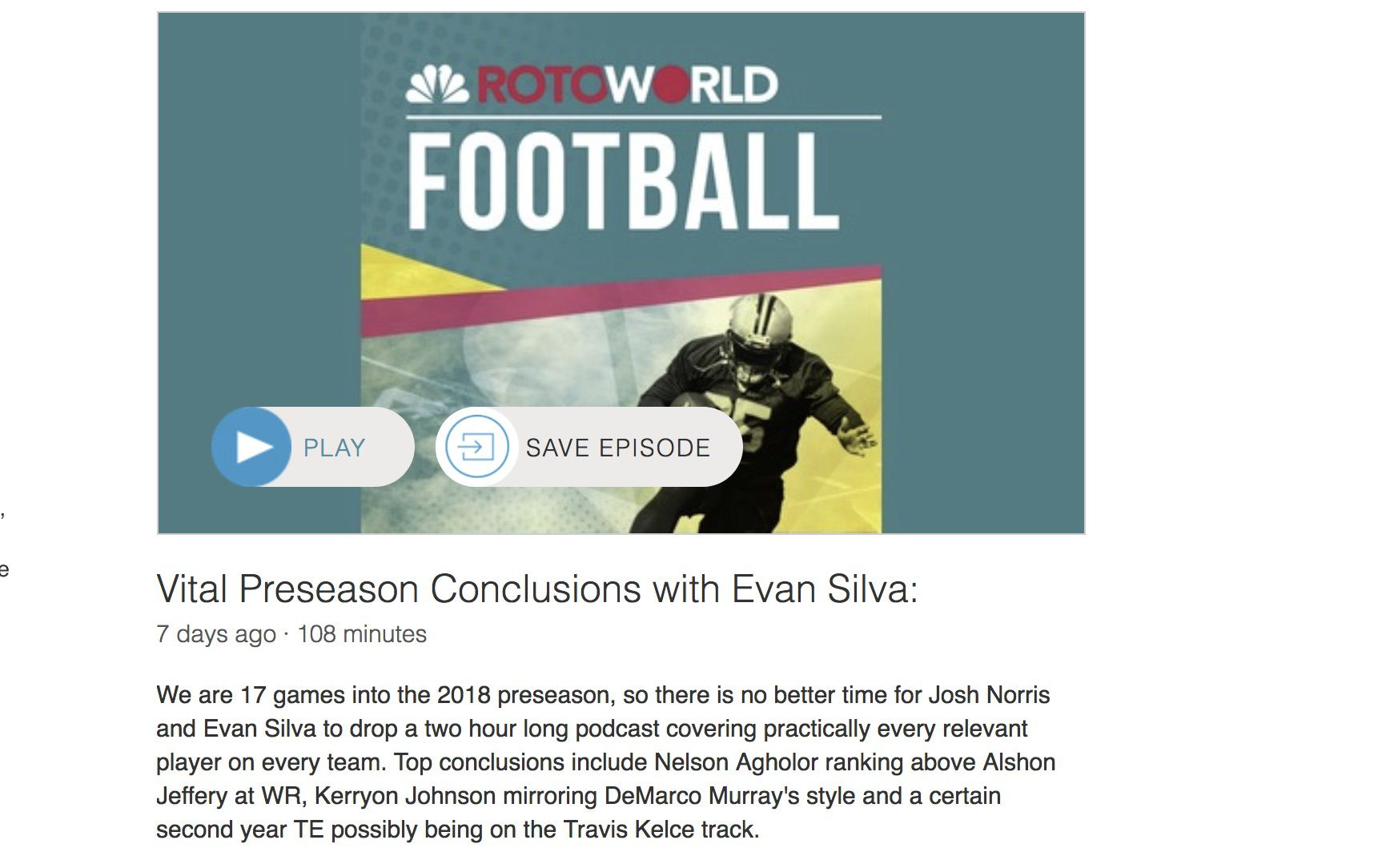Screenshot of Rotoworld's fantasy football podcast page on Sticher.
