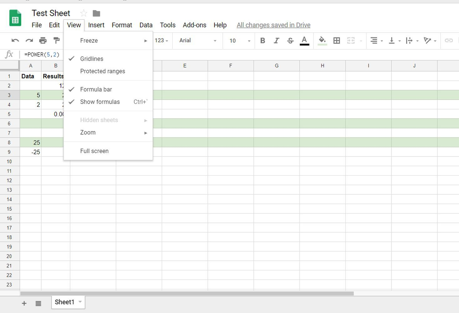 Show or Hide Formulas in Google Sheets