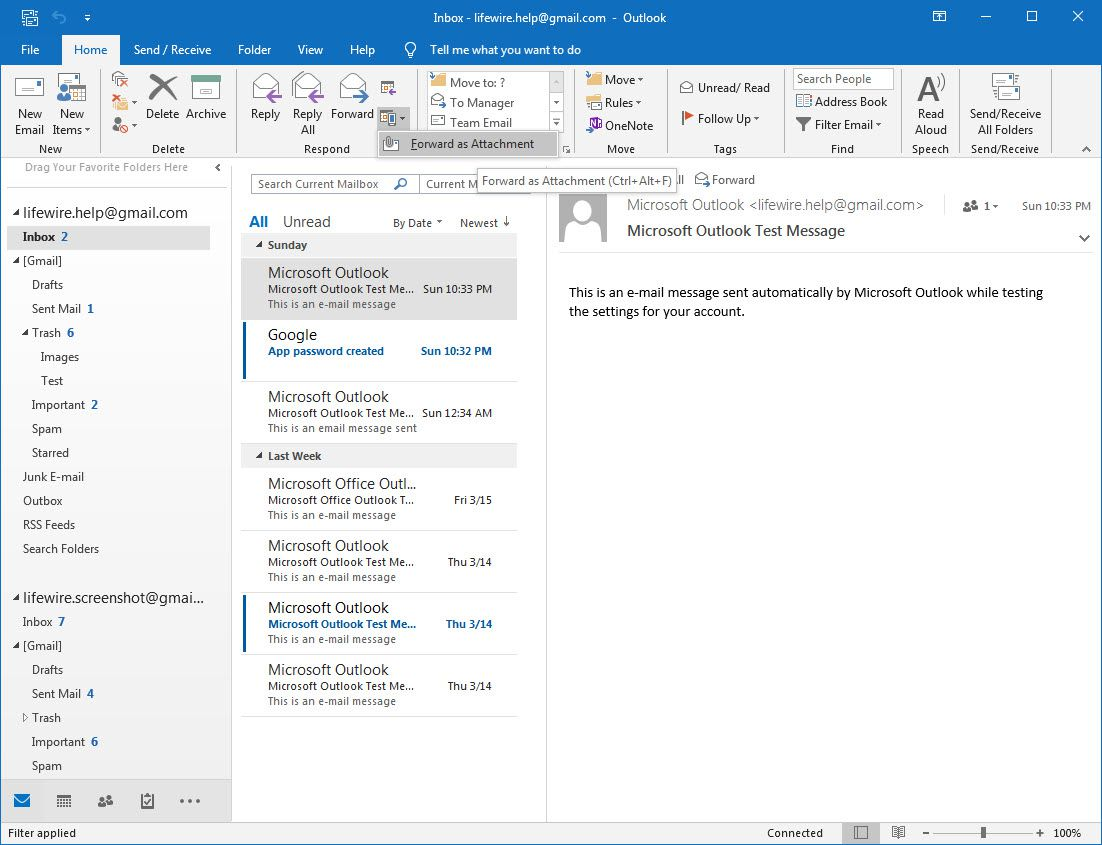Outlook 2016 Forward as Attachment menu item selected