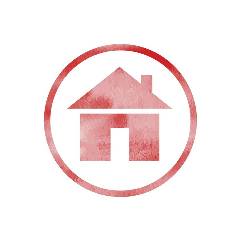 red home symbol in circle; firefox graphic