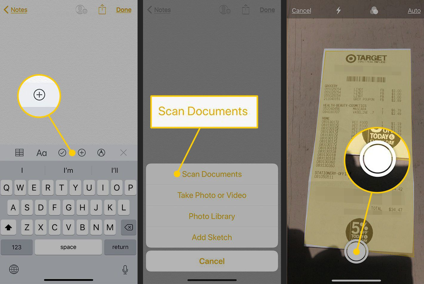 The Notes app for iOS with the plus sign, Scan Document, and take-picture buttons highlighted