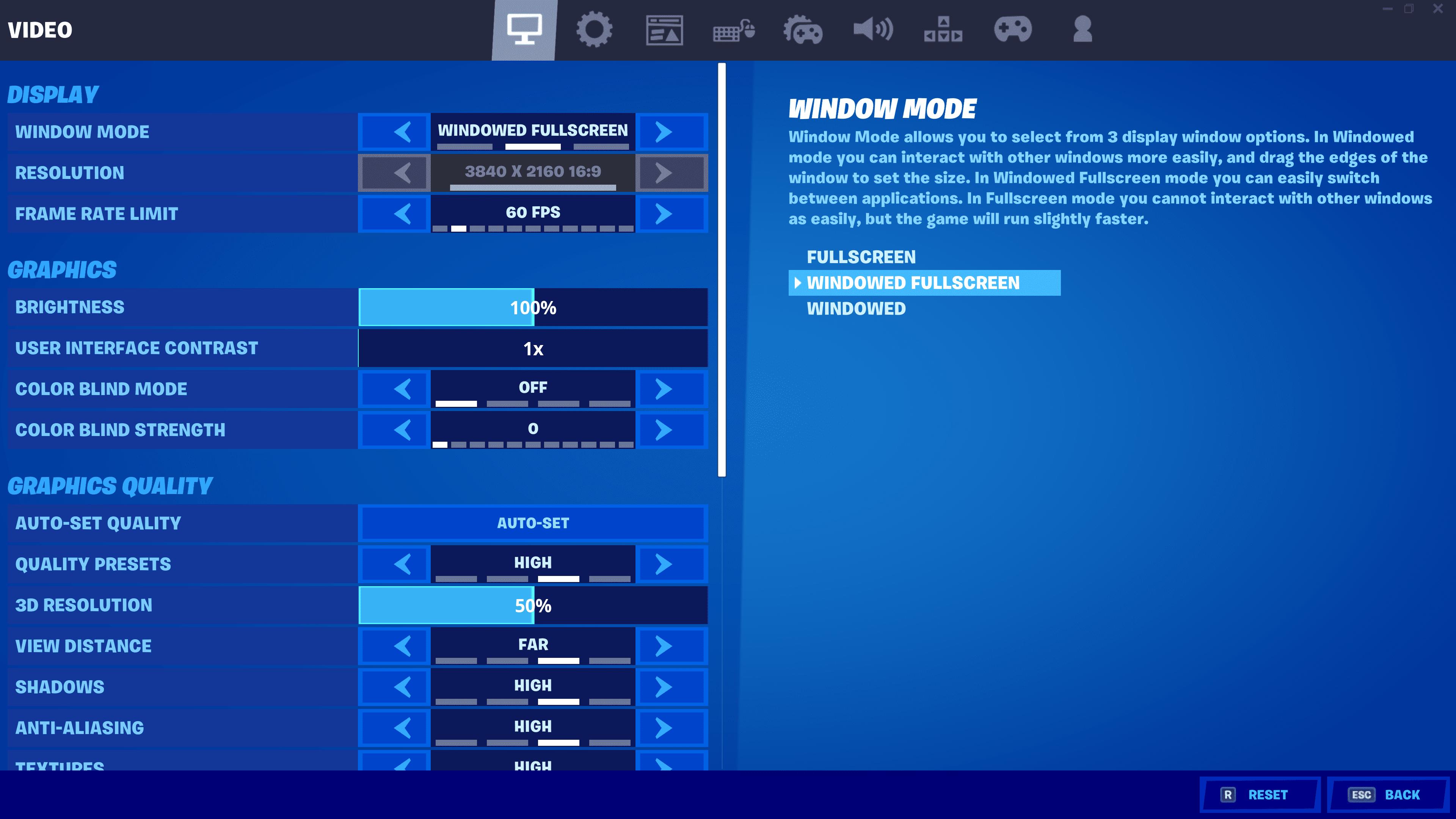 Fortnite settings on PC.