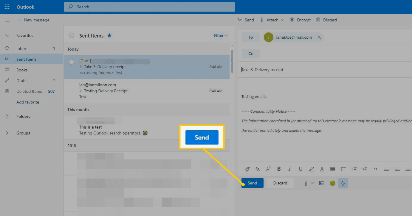 Send button in Outlook