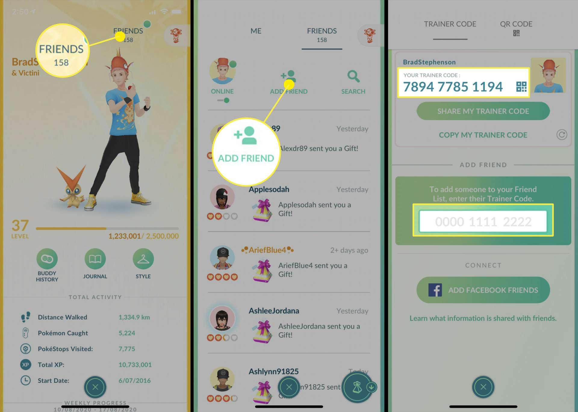 Pokemon GO profile and friend settings.