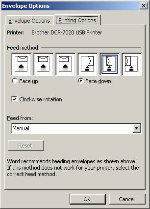 Create and customize envelopes in microsoft word changing envelope feed options spiritdancerdesigns