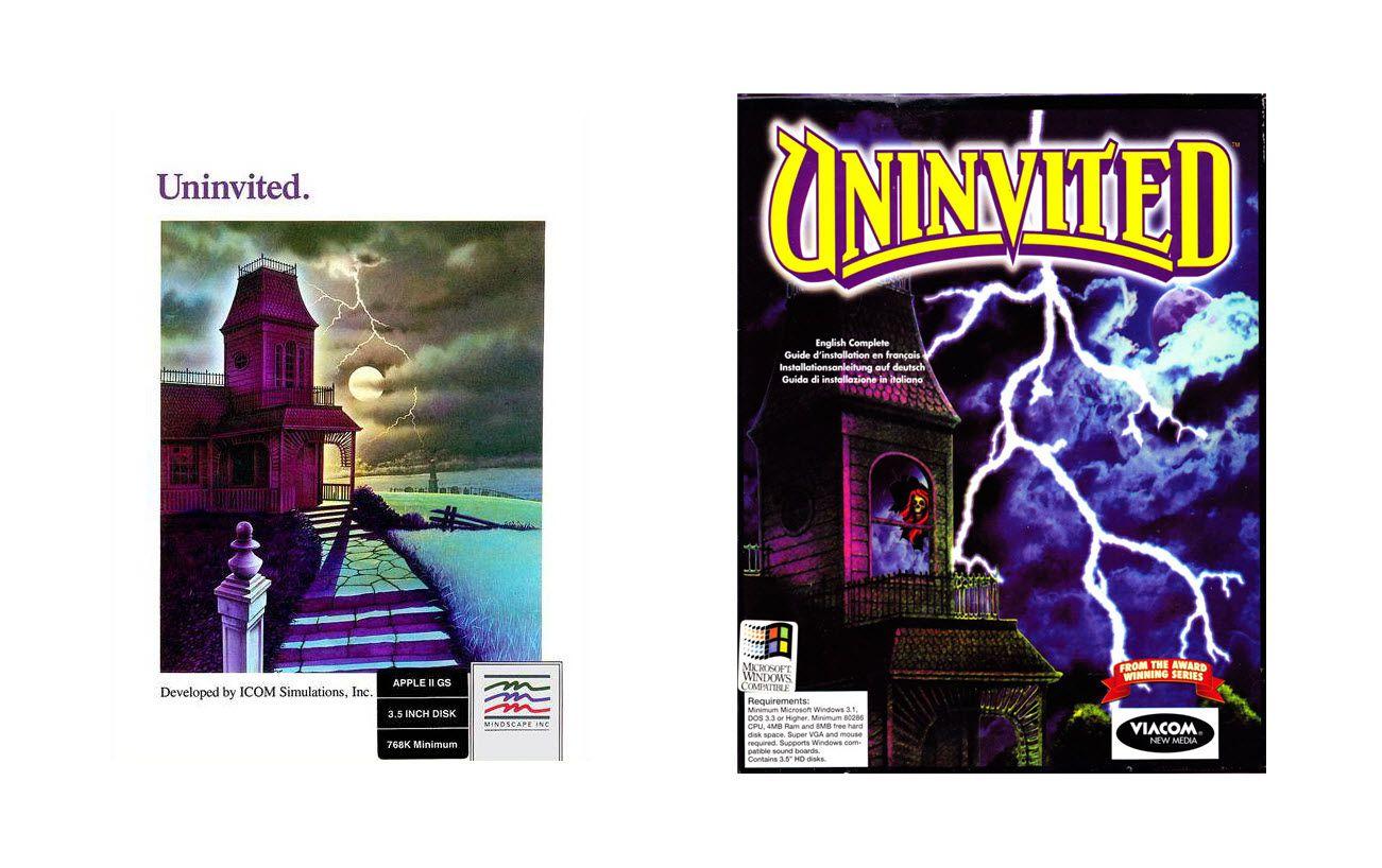 Uninvited - Original Apple II Box Art and MS-DOS/Windows Box Art