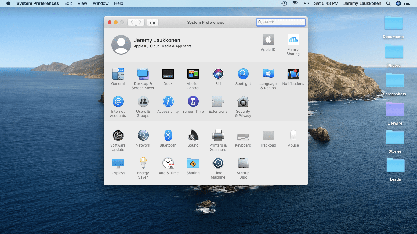A screenshot of preference panes on macOS.