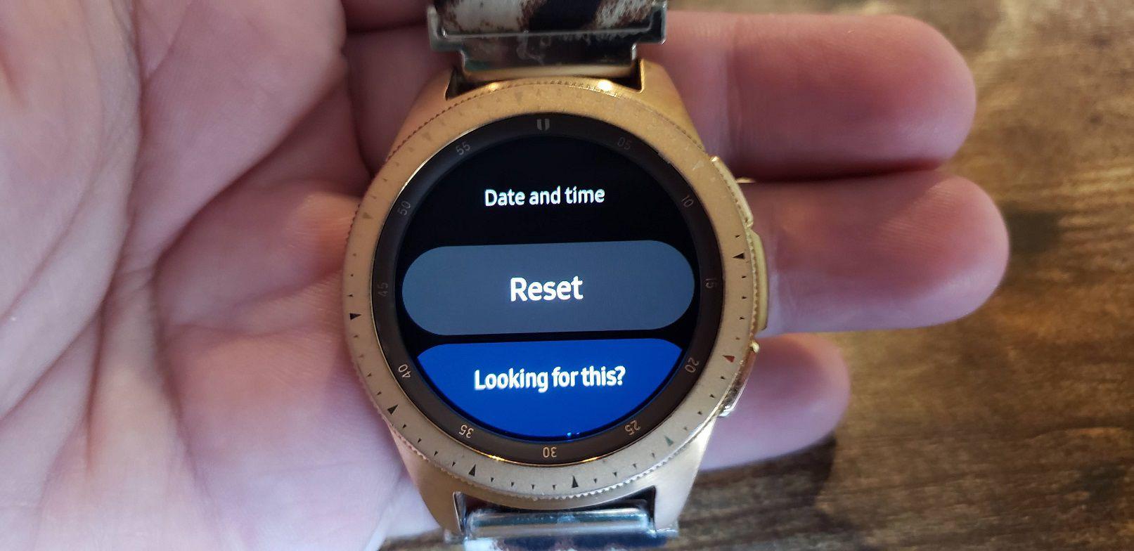 Samsung Galaxy Watch Settings and Reset sub menu.