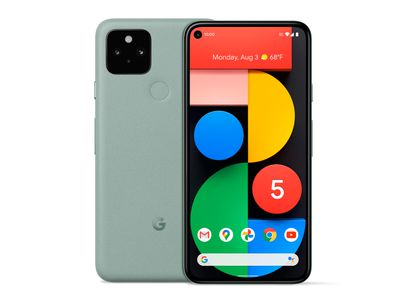 Google Pixel 5 front and back view in