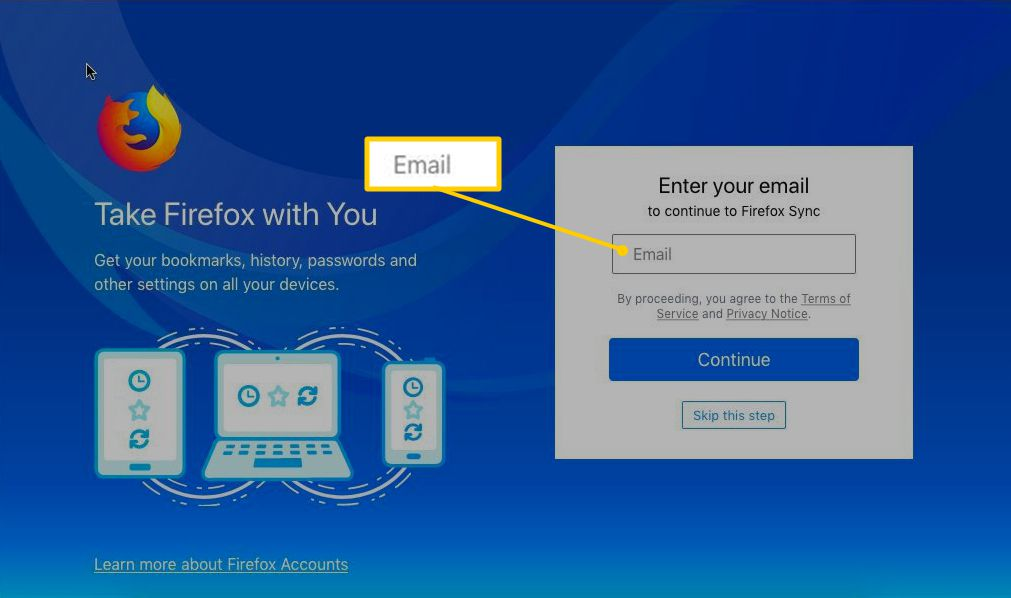 Enter your email page for Firefox sync