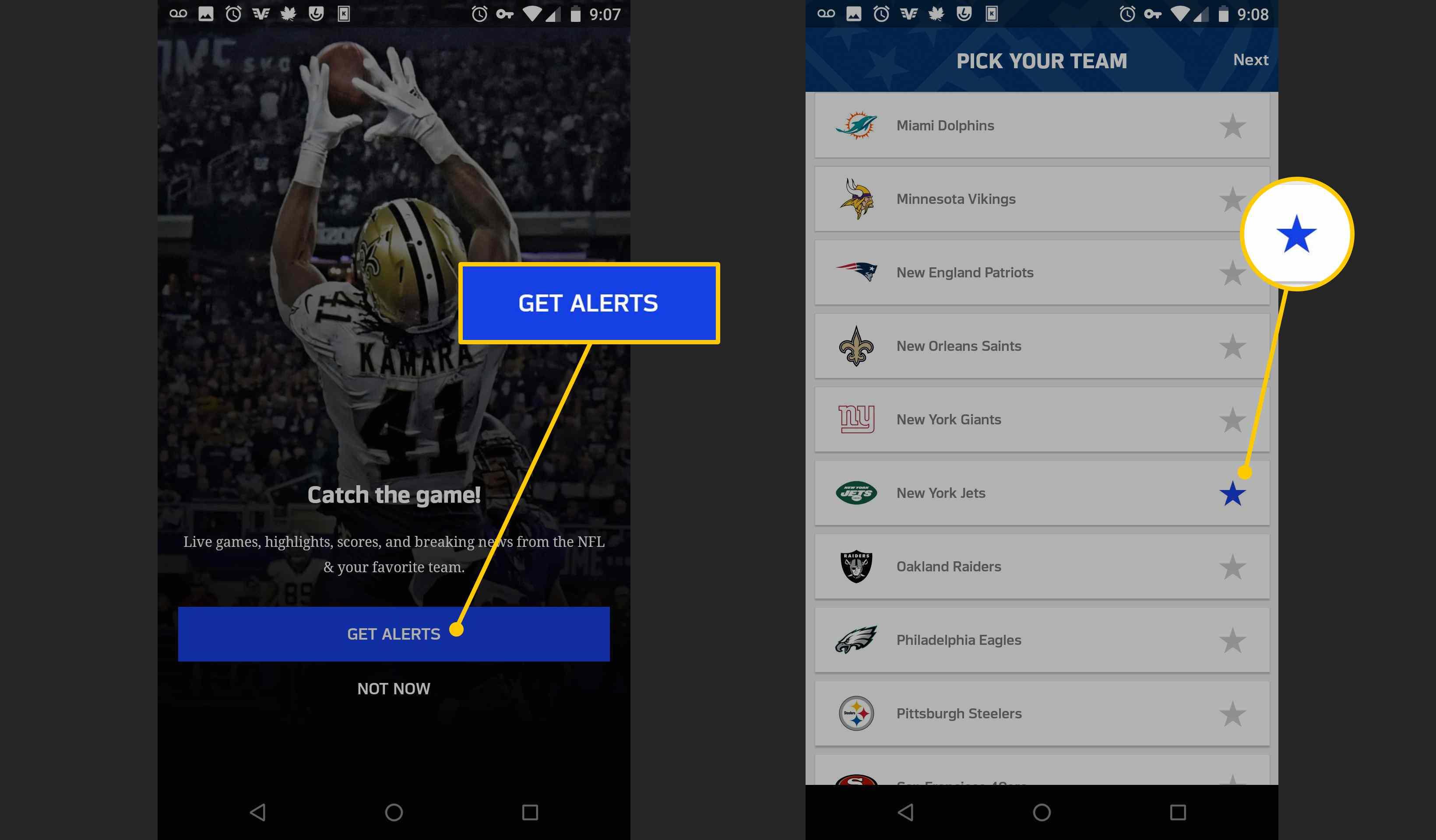 Get Alerts button in NFL app