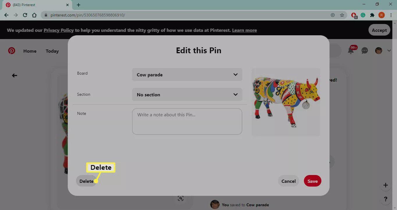 Delete button on Pinterest
