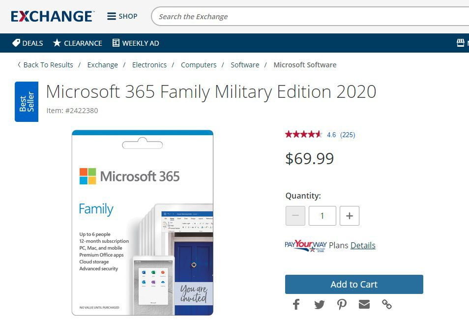 The discounted Microsoft 365 Family Military Edition as shown on the Exchange site.