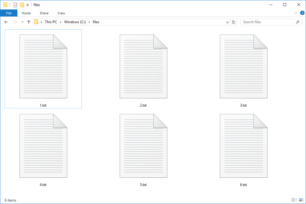 several text files in Windows 10