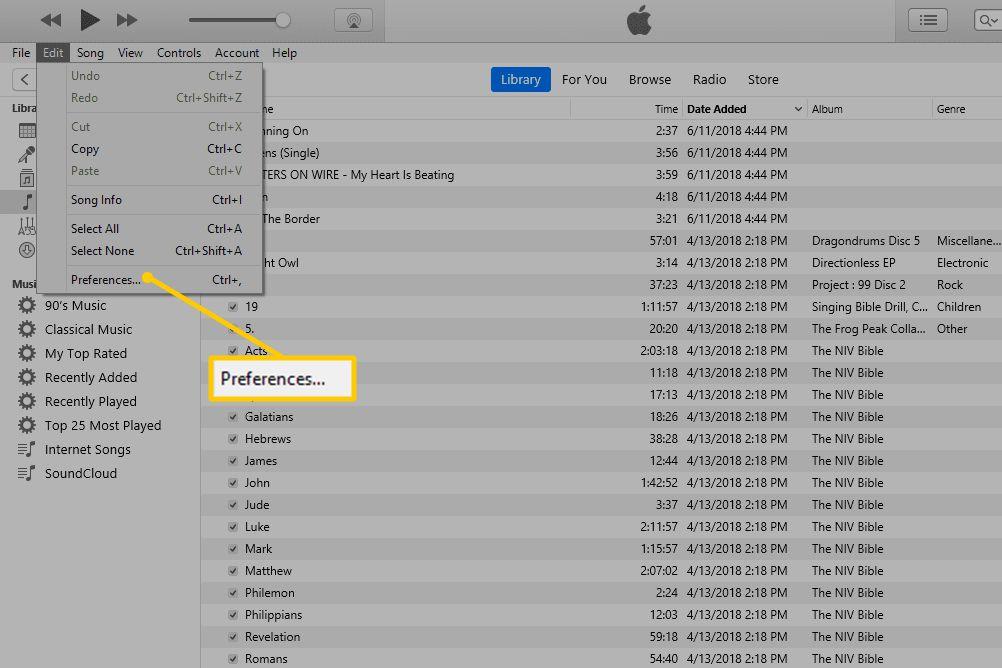 iTunes Preferences menu item