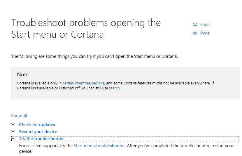cortana doesnt open