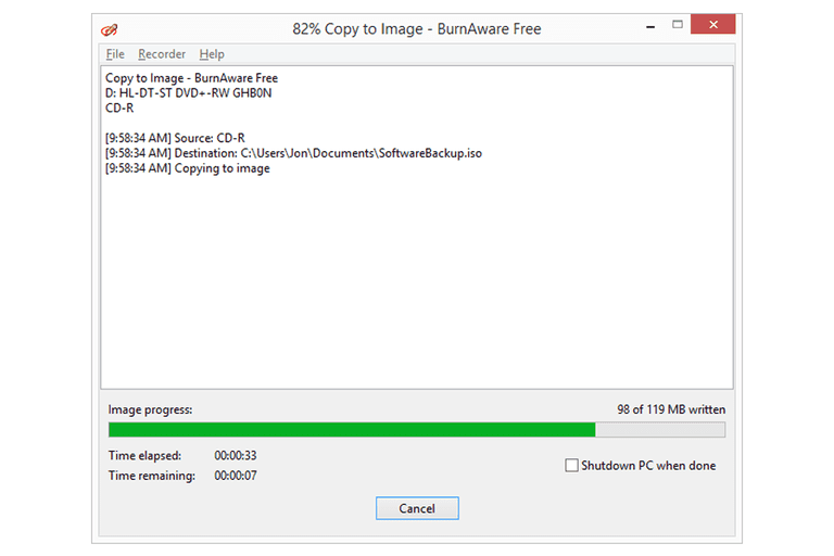 Screenshot of BurnAware ripping a disc to an ISO image
