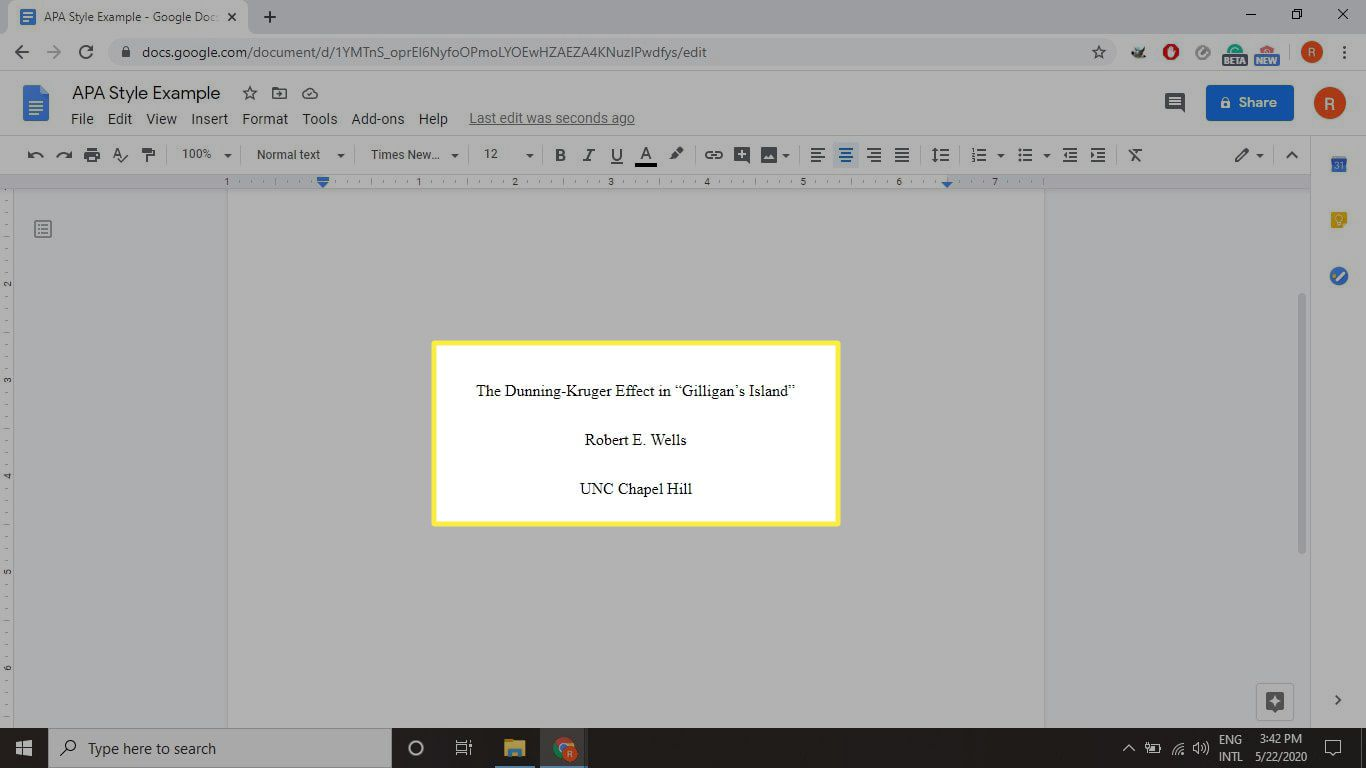 APA title page in Google Docs
