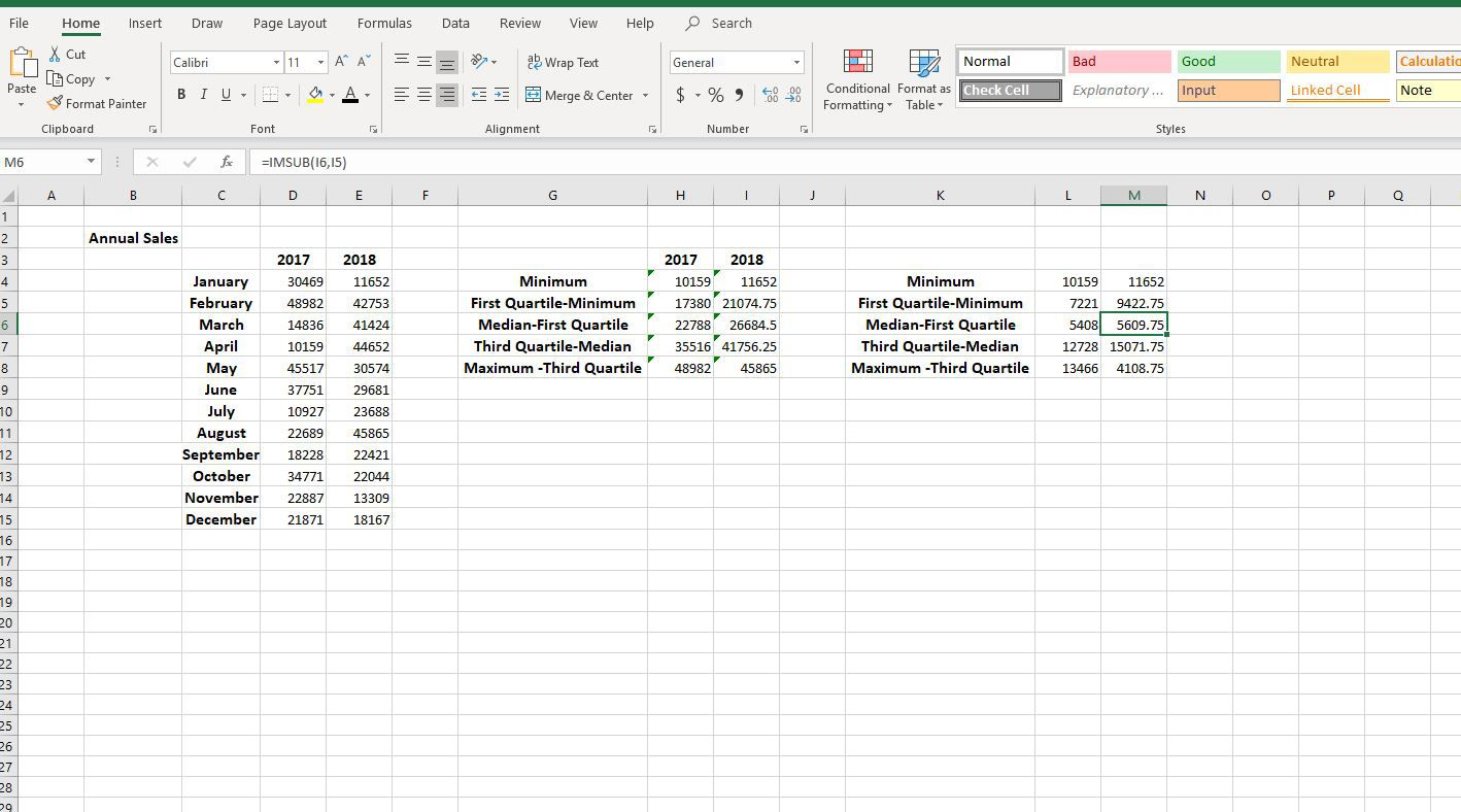 Screenshot of calculated quartile differences