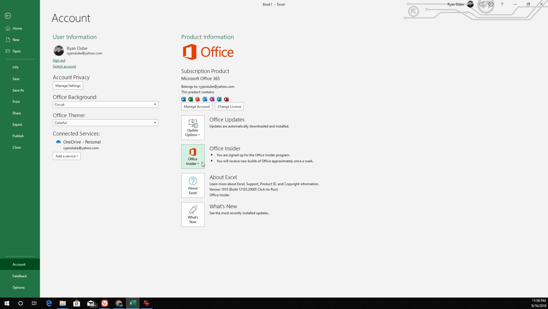 Screenshot of joining Office Insider