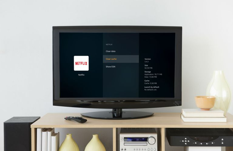 The Fire TV Stick clear cache menu displayed on a television.