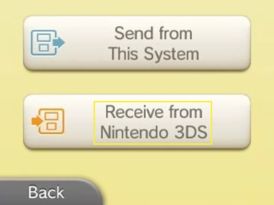 Tap Receive from Nintendo 3DS.