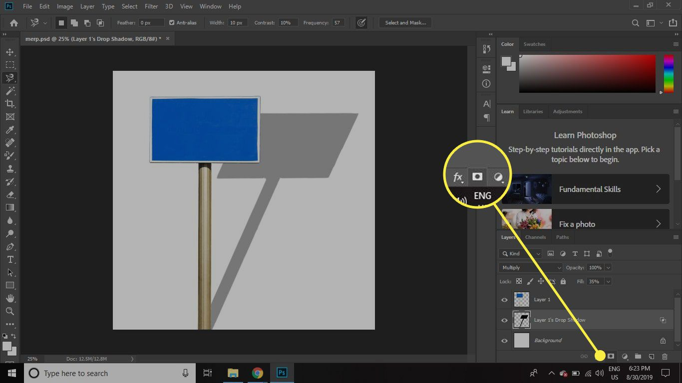 A screenshot of Photoshop with the Layer Mask button highlighted