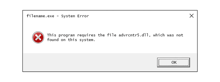Screenshot of an advrcntr5 DLL error message in Windows 10