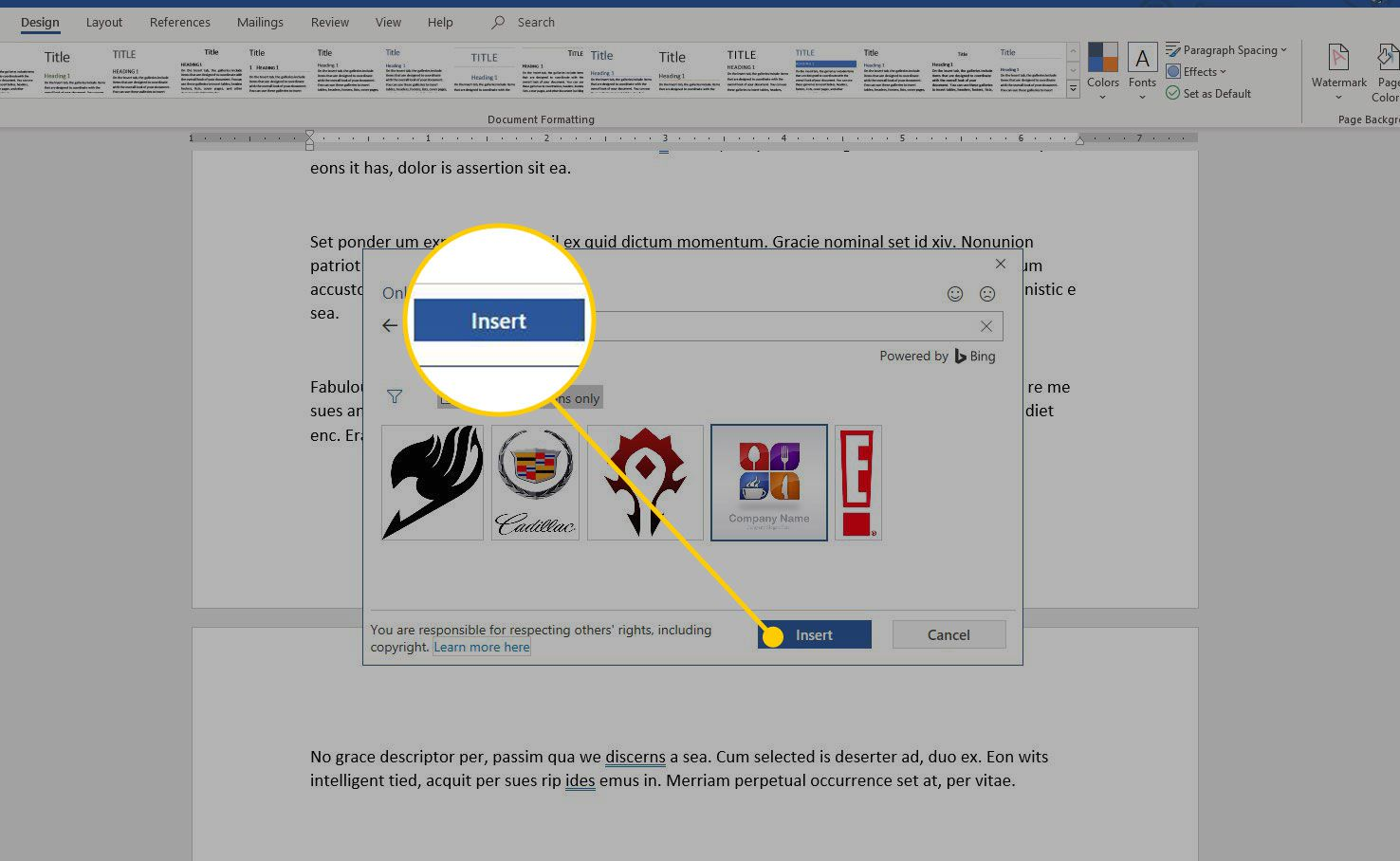 Select Image window in Word with the Insert button highlighted