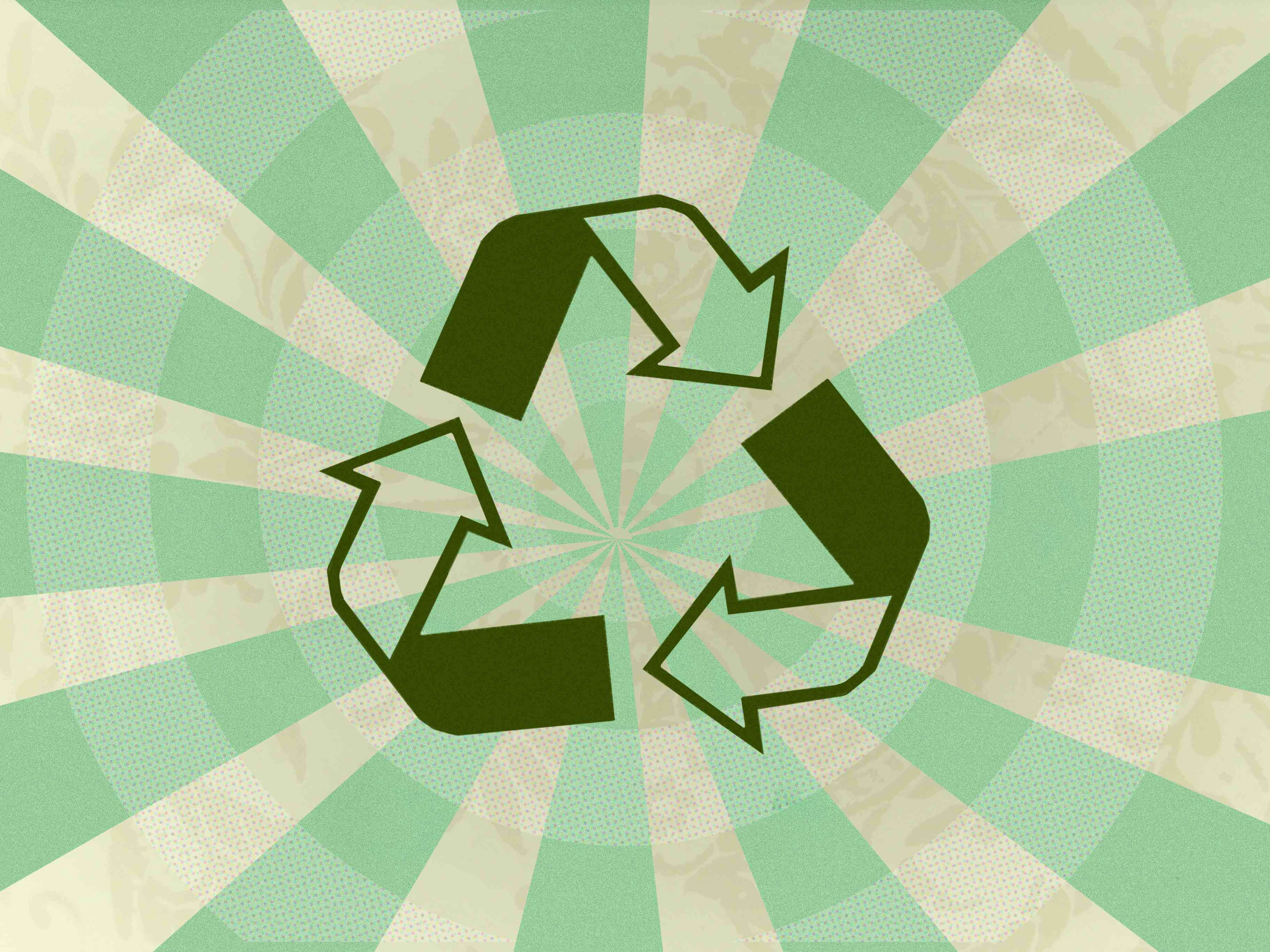 A green recycling symbol.