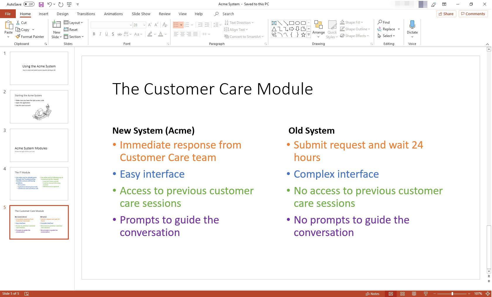 MS PowerPoint presentation with Comparison slide layout displayed