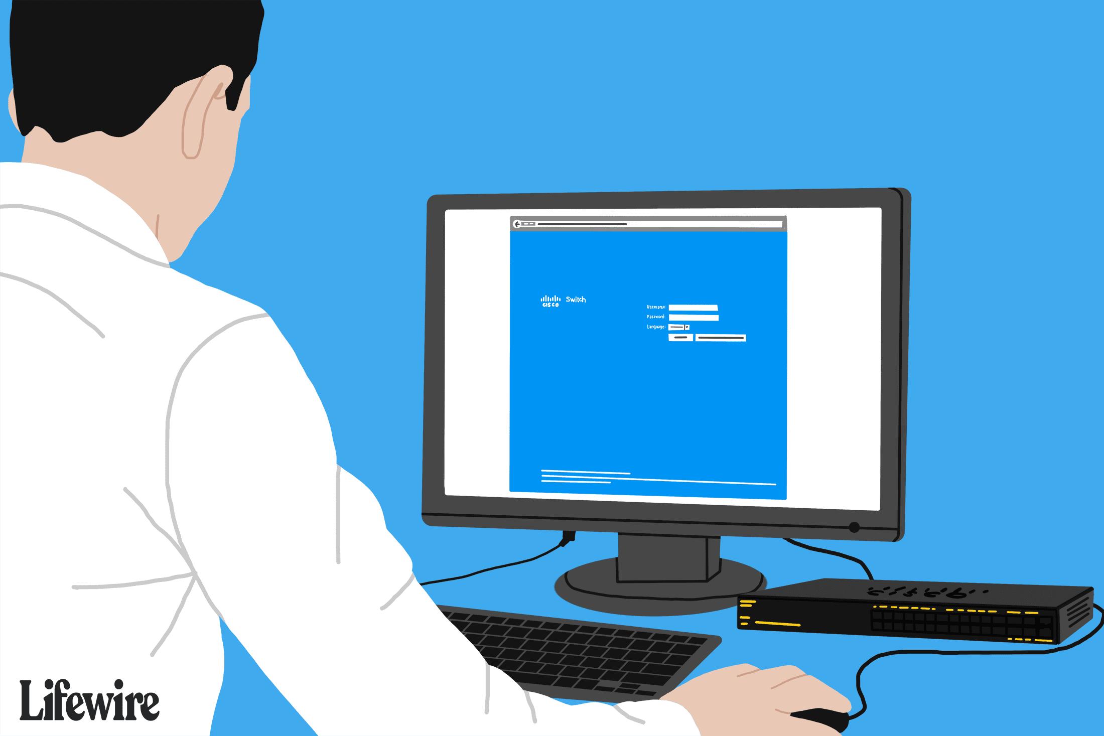 Cisco username and password screen on a computer screen