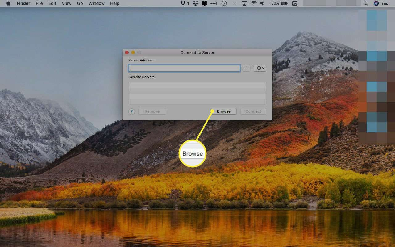 Connect to Server window in macOS