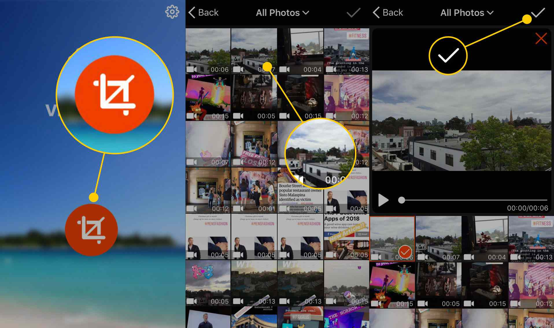 Selecting a video in Video Crop on an iPhone