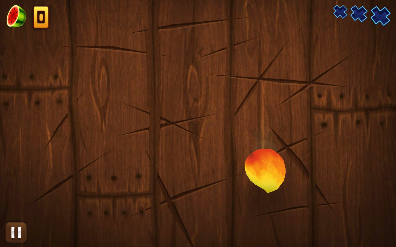 A lone piece of fruit waits to be sliced in the Fruit Ninja game for Android.
