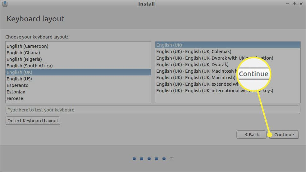 Select your keyboard language and layout, then select Continue.