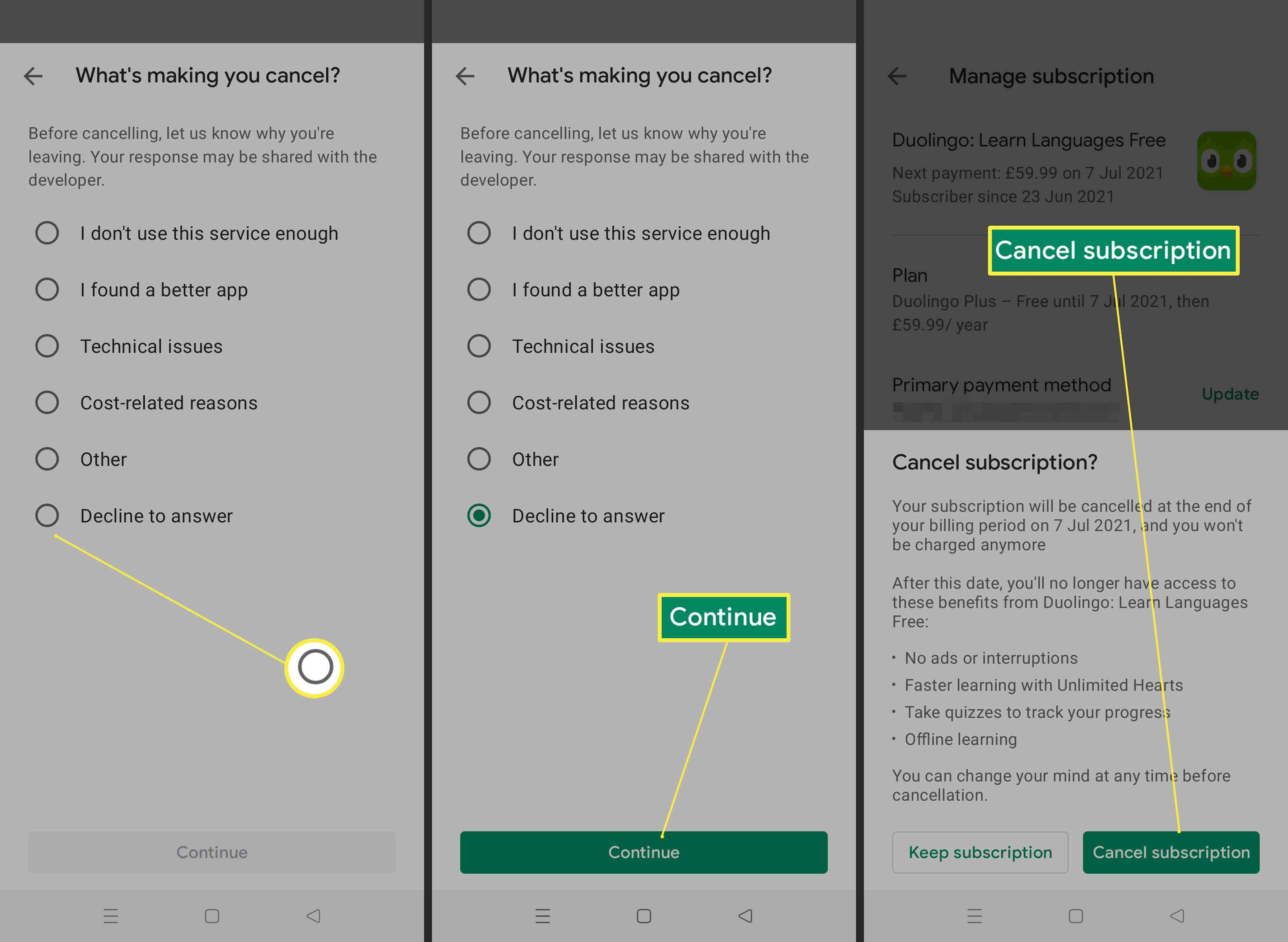 Steps required to cancel subscription on Android