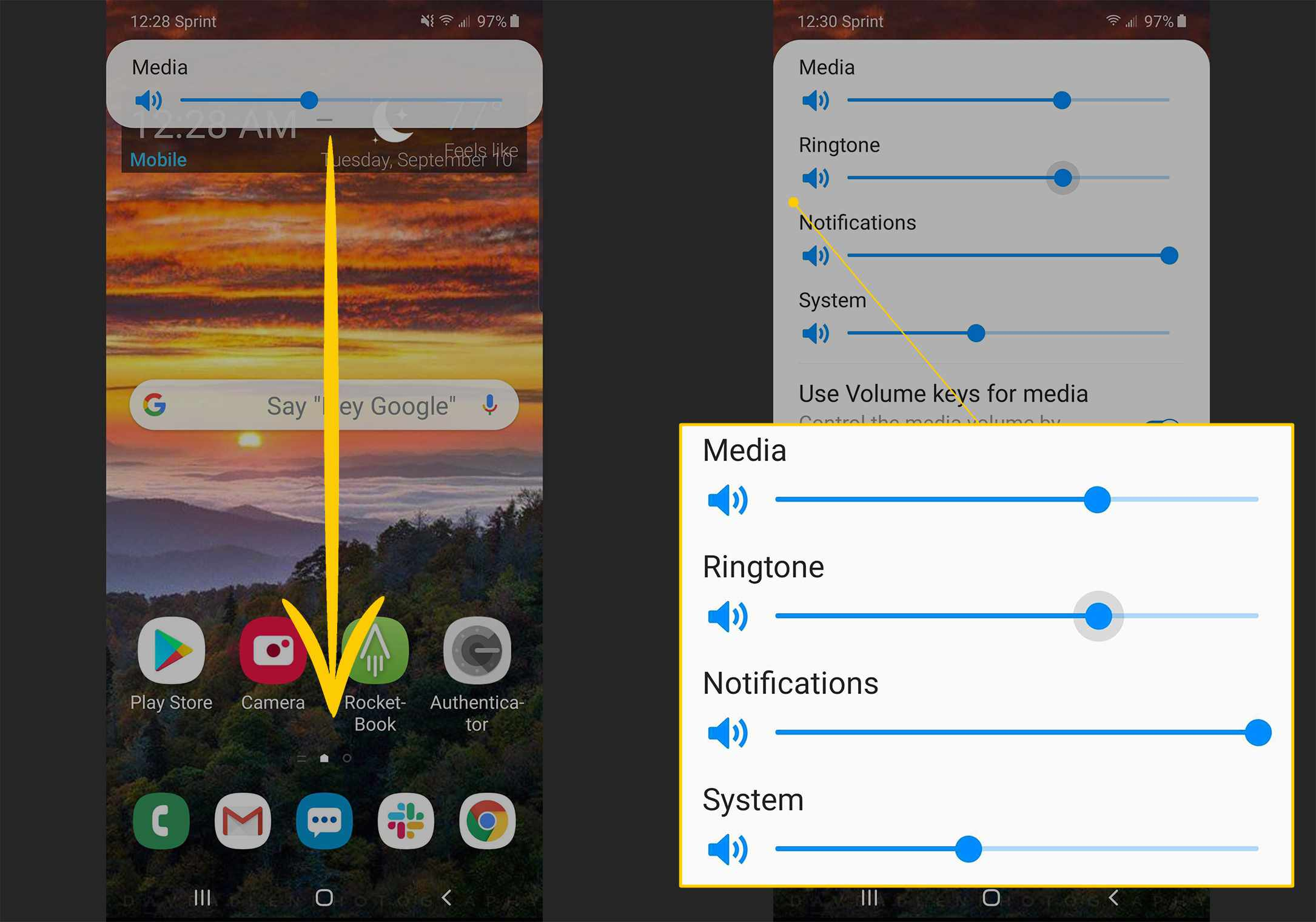 Swipe down from Media panel, media sliders on Android