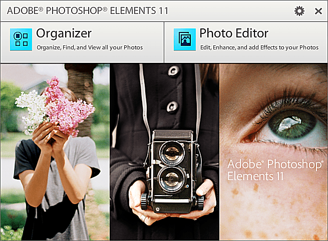 Photoshop Elements 11 Welcome Screen
