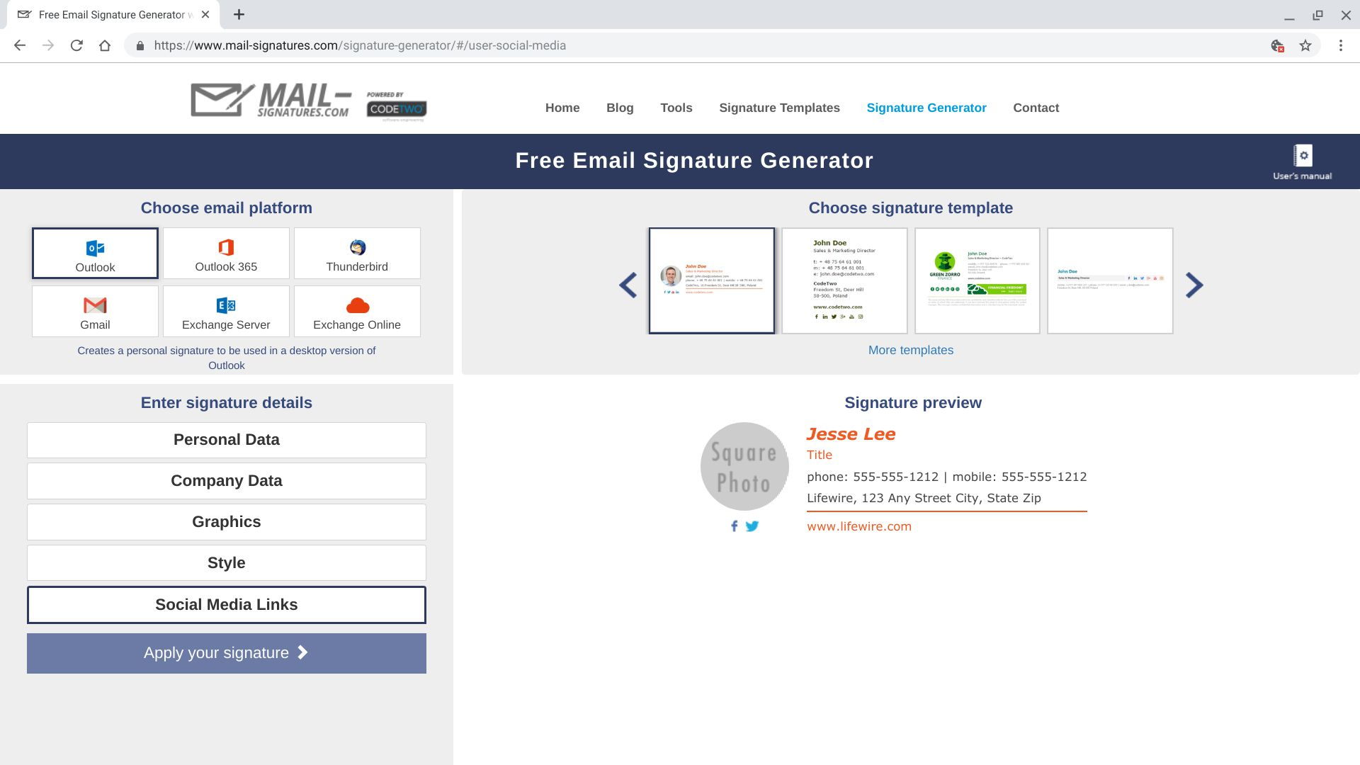signature outlook web