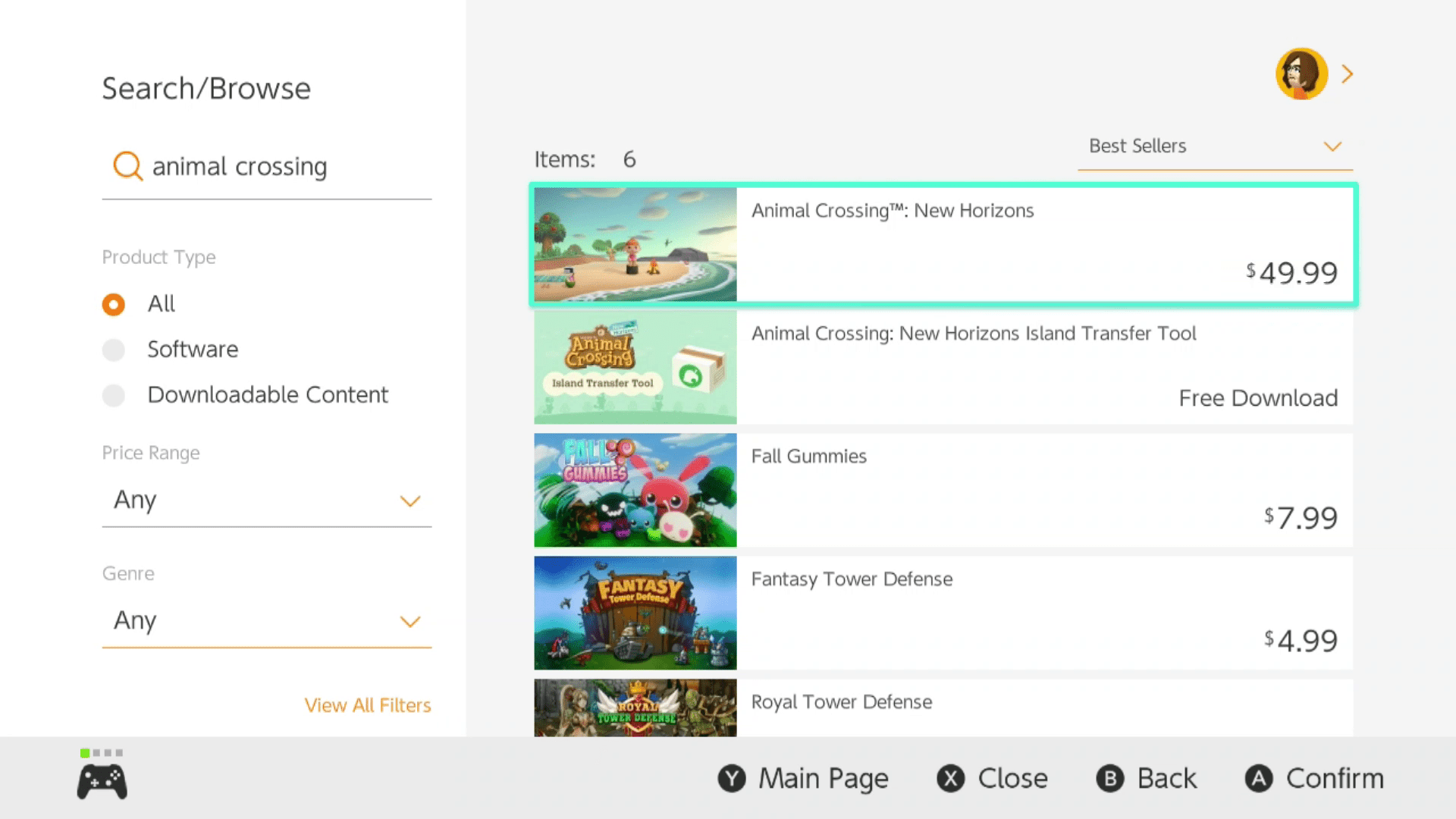 Animal Crossing highlighted in Nintendo eShop search results.