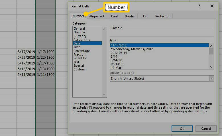 The Number tab on the Format Cells dialog.