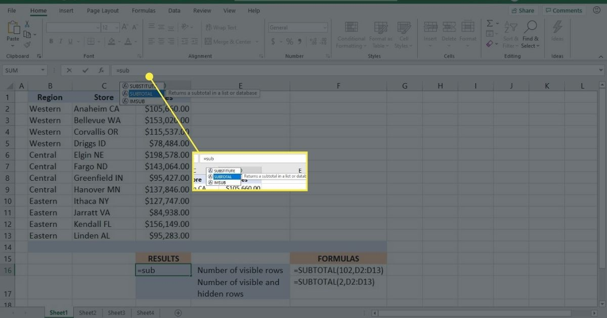 Enter the SUBTOTAL function in the Excel function bar