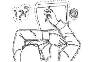 illustration of a man drawing a storyboard