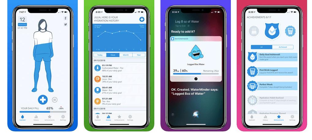 Screenshot of WaterMinder on iPhone