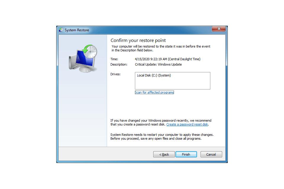 Windows 7 System Restore utility